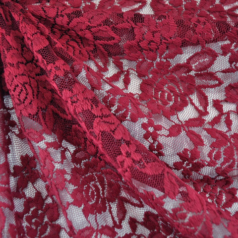 Stretch Lace Rose Floral Burgundy