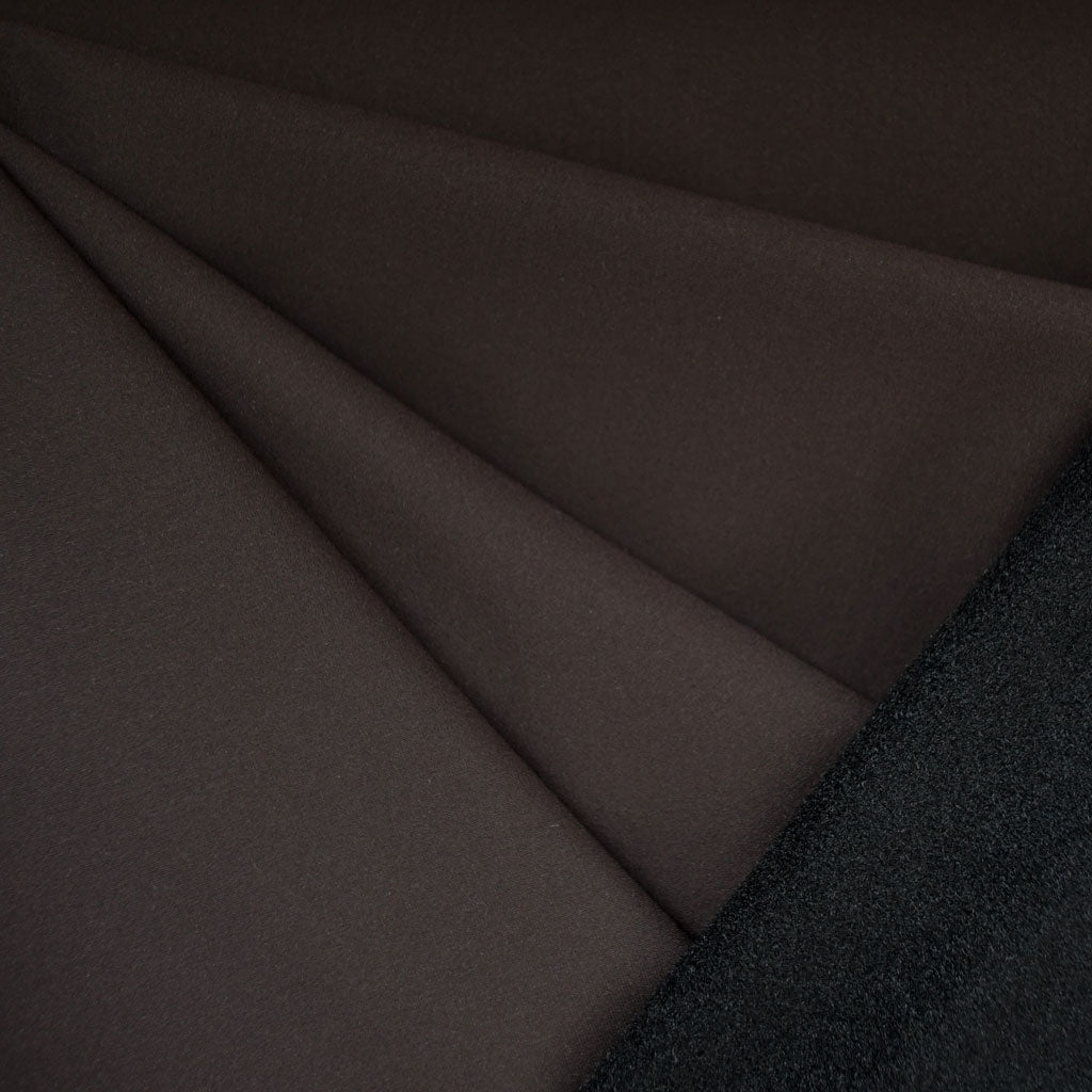 Soft Shell Fleece Coating Chocolate/Black - Fabric - Style Maker Fabrics
