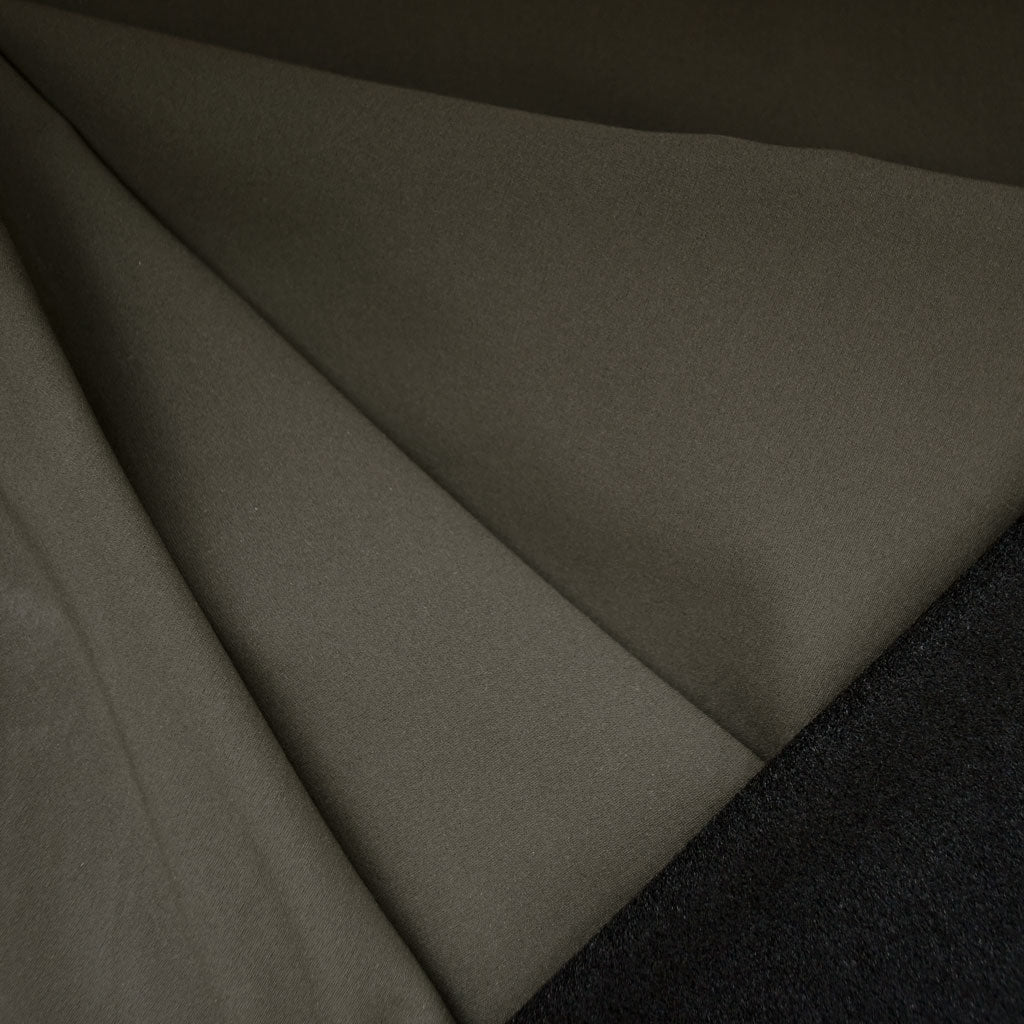 Soft Shell Fleece Coating Olive/Black - Fabric - Style Maker Fabrics