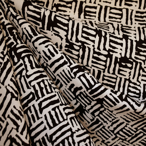 Tribal Block Print Rayon Crepe Black/Cream SY