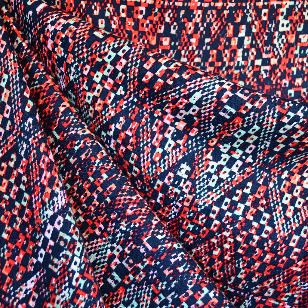 Prism Geometric Textured Rayon Crepe Red/Navy SY - Sold Out - Style Maker Fabrics