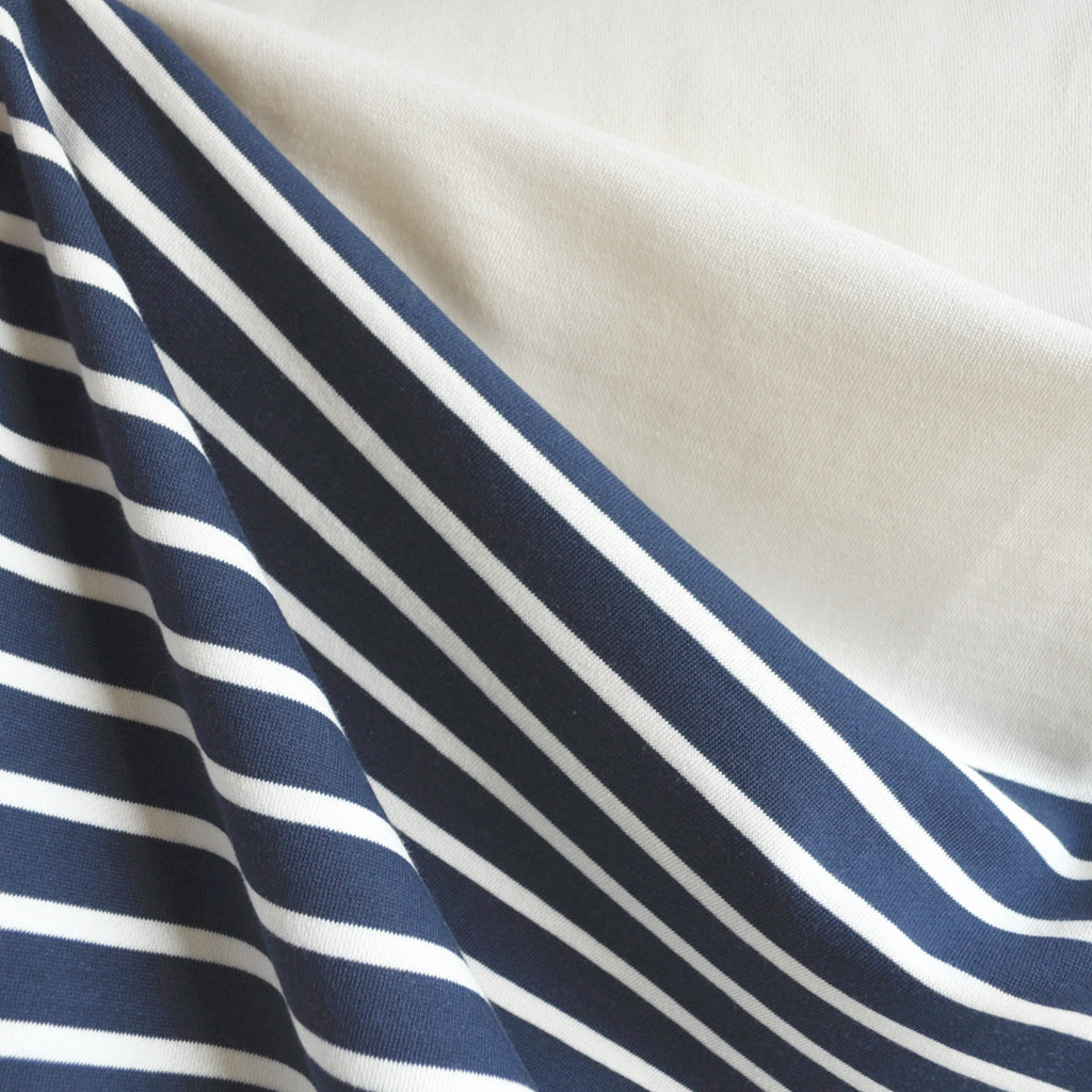 Engineered Stripe Sweatshirt Fleece Vanilla/Navy SY - Sold Out - Style Maker Fabrics
