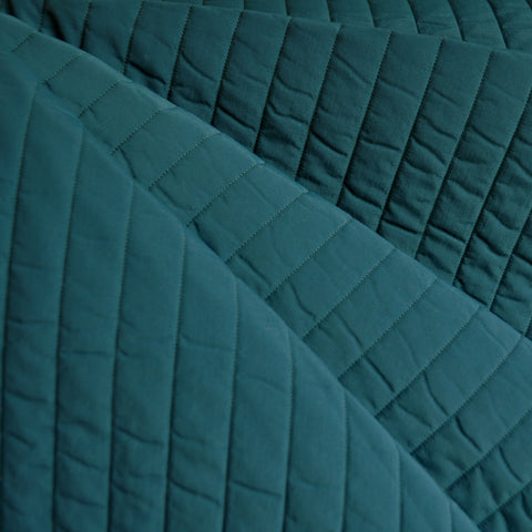 Plush Quilted Stripe Nylon Coating Teal
