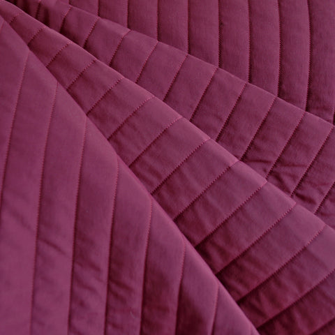 Plush Quilted Stripe Nylon Coating Cranberry