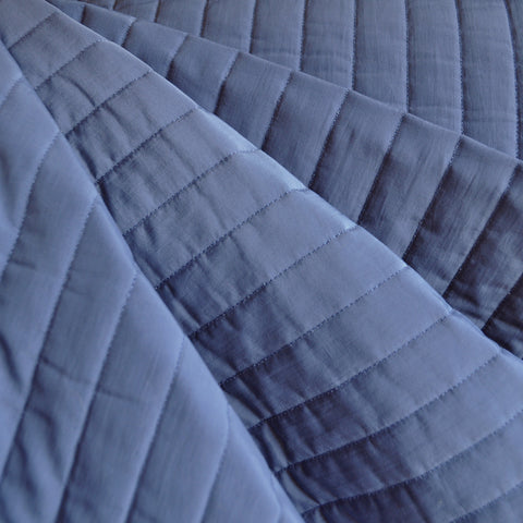 Plush Quilted Stripe Nylon Coating Slate Blue SY