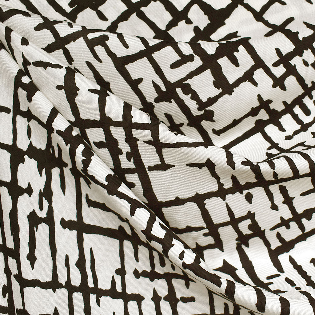 Abstract Crosshatch Rayon Voile Cream/Black SY - Sold Out - Style Maker Fabrics
