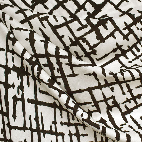 Abstract Crosshatch Rayon Voile Cream/Black