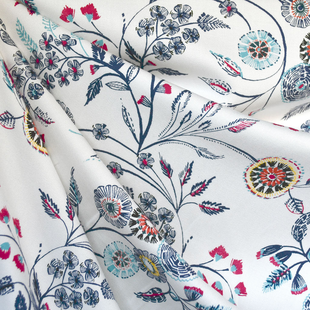 Burst Vine Floral Rayon Twill Shirting Cream/Navy - Sold Out - Style Maker Fabrics