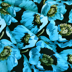 Summer Poppy Stretch Sateen Black/Teal - Sold Out - Style Maker Fabrics