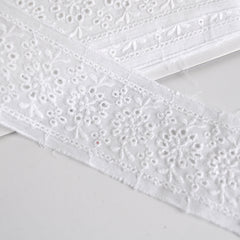 Floral Eyelet Insert Trim White 2-1/4 inch - Sold Out - Style Maker Fabrics