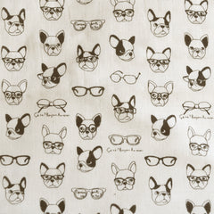 Japanese Kokka Bulldog Double Gauze Vanilla/Black SY - Sold Out - Style Maker Fabrics