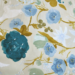 Japanese Nani Iro Sateen Floral Tan/Teal - Sold Out - Style Maker Fabrics