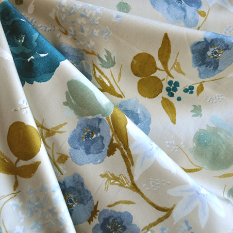 Japanese Nani Iro Sateen Floral Tan/Teal