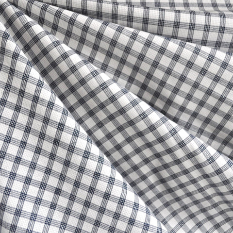 Shimmer Yarn Dyed Check Shirting White/Black/Silver