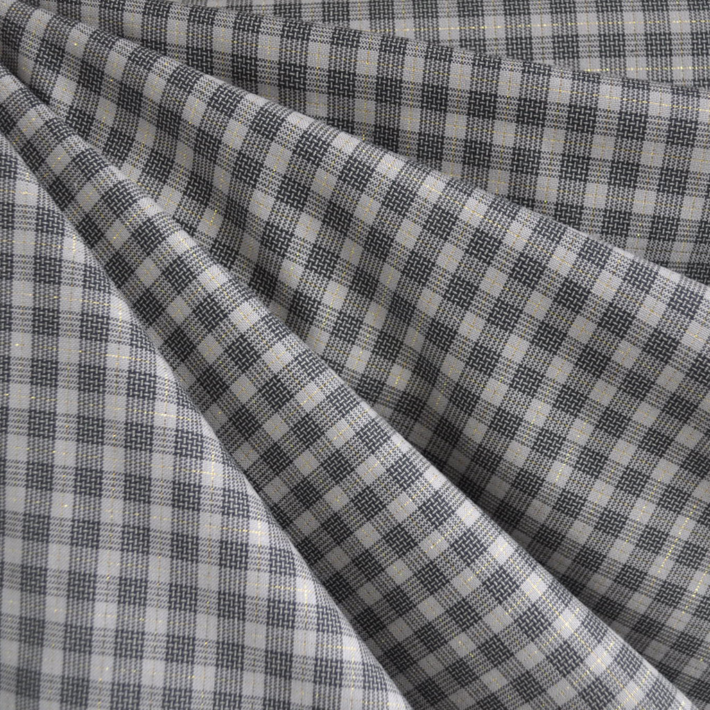 Shimmer Yarn Dyed Check Shirting Charcoal/Gold SY - Selvage Yard - Style Maker Fabrics
