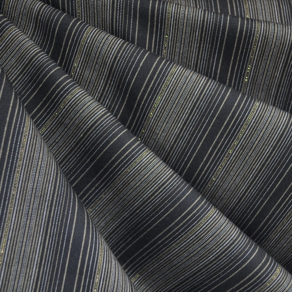Shimmer Yarn Dyed Stripe Shirting Charcoal/Gold SY - Selvage Yard - Style Maker Fabrics