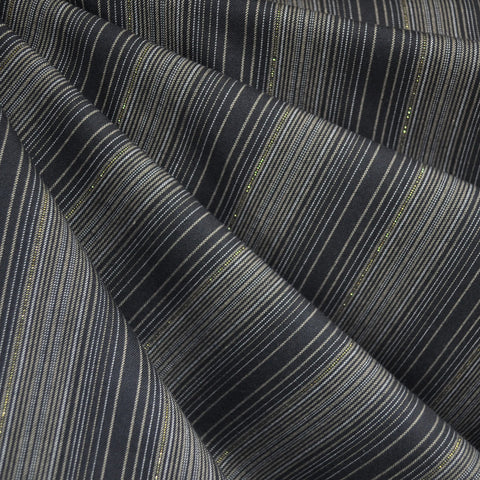 Shimmer Yarn Dyed Stipe Shirting Charcoal/Gold