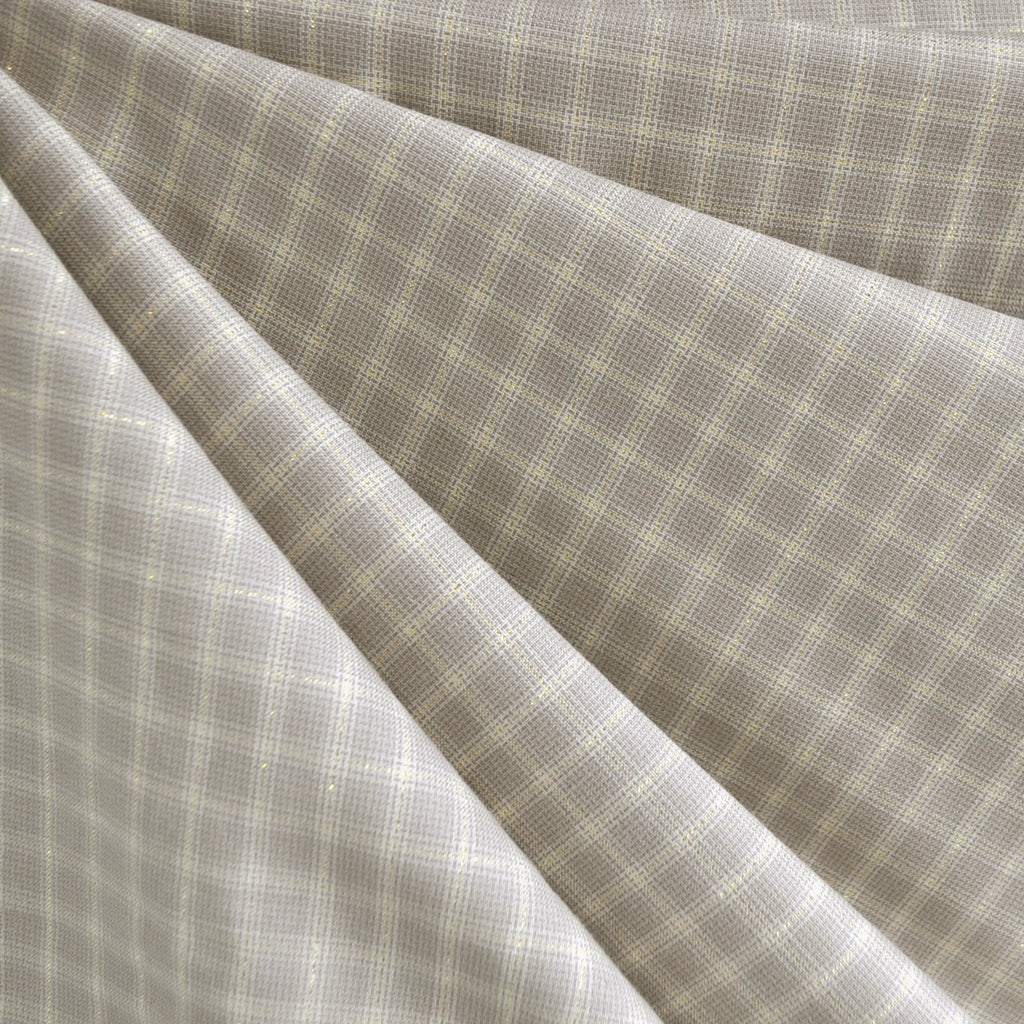 Shimmer Yarn Dyed Check Shirting Taupe/Gold - Fabric - Style Maker Fabrics