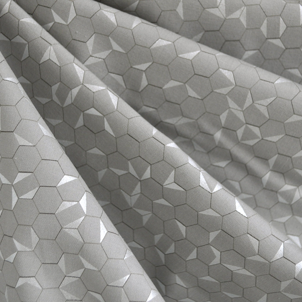 Shimmer Hexagon Cotton Grey/Silver - Fabric - Style Maker Fabrics