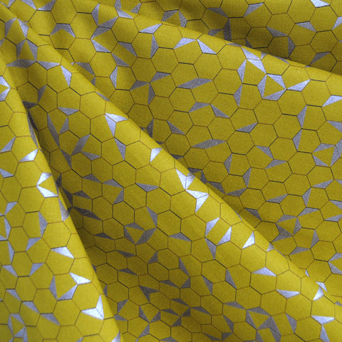 Shimmer Hexagon Cotton Citron/Silver