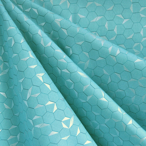 Shimmer Hexagon Cotton Aqua/Silver