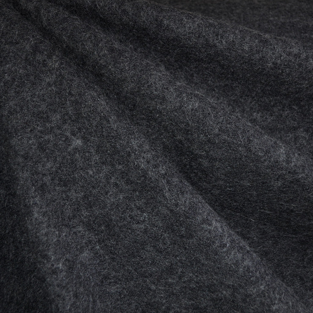 Boiled Wool Blend Coating Charcoal - Sold Out - Style Maker Fabrics
