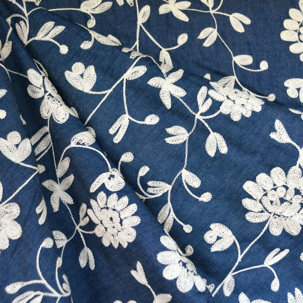 Vine Floral Embroidered Denim Shirting Blue/Cream - Fabric - Style Maker Fabrics