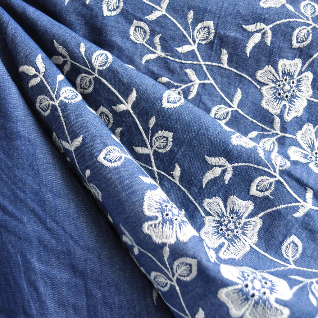 Embroidered Single Border Denim Shirting Blue/Vanilla - Sold Out - Style Maker Fabrics