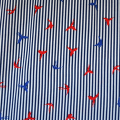 Soaring Birds Stripe Rayon Navy/White - Sold Out - Style Maker Fabrics