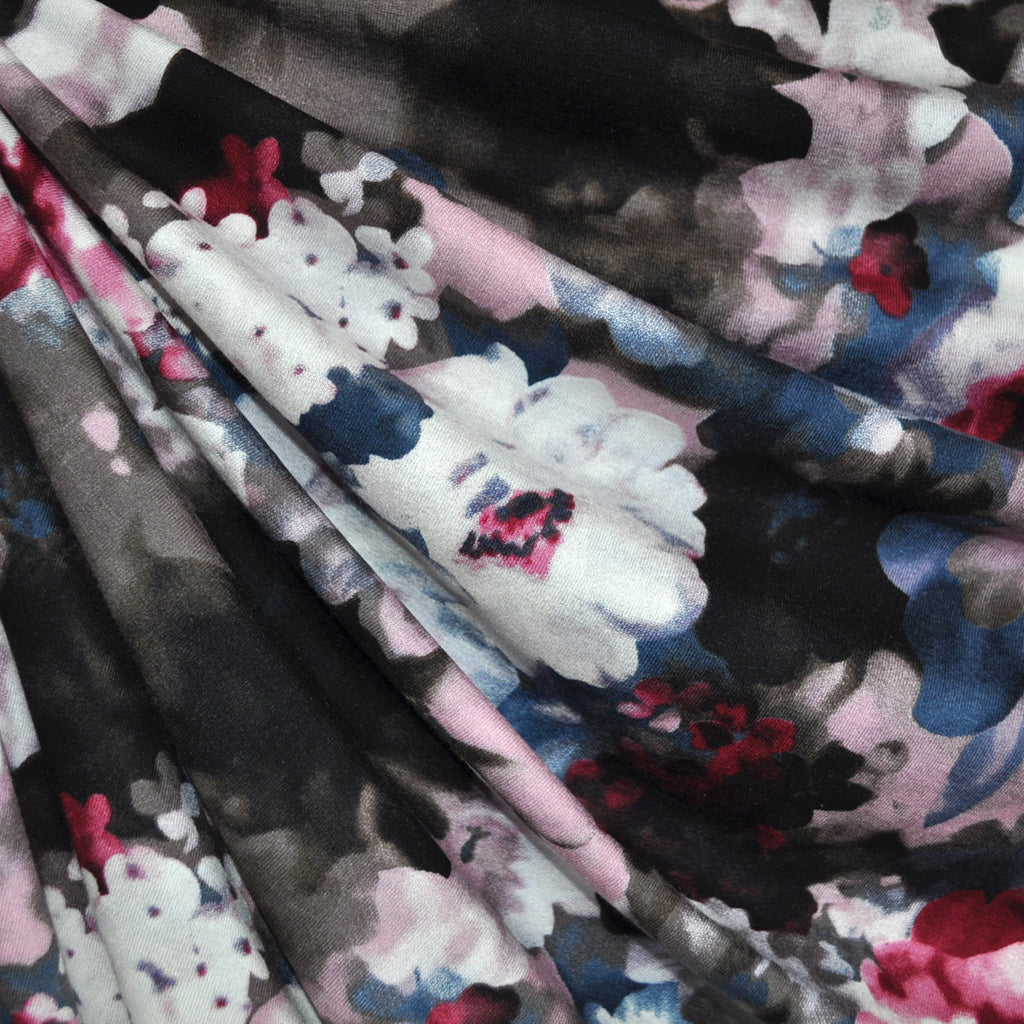Twilight Floral Jersey Knit Rose/Steel - Fabric - Style Maker Fabrics