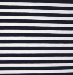 Bamboo Jersey Knit Stripe Navy/Vanilla - Sold Out - Style Maker Fabrics