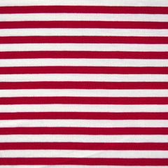 Bamboo Jersey Knit Stripe Red/Vanilla SY - Sold Out - Style Maker Fabrics