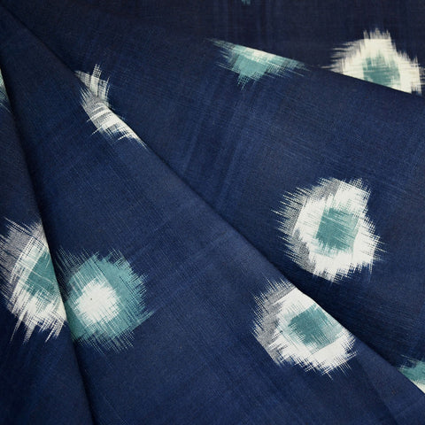 Medallion Double Ikat Shirting Navy/Teal