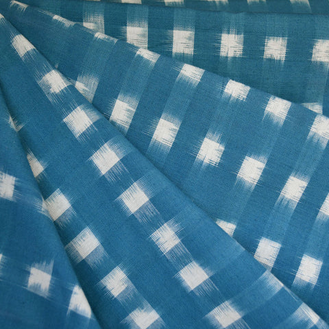 Square Double Ikat Shirting Teal/Vanilla