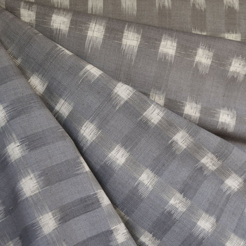 Square Double Ikat Shirting Grey/Vanilla