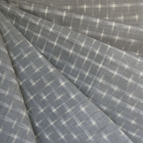Small Double Ikat Shirting Grey/Vanilla
