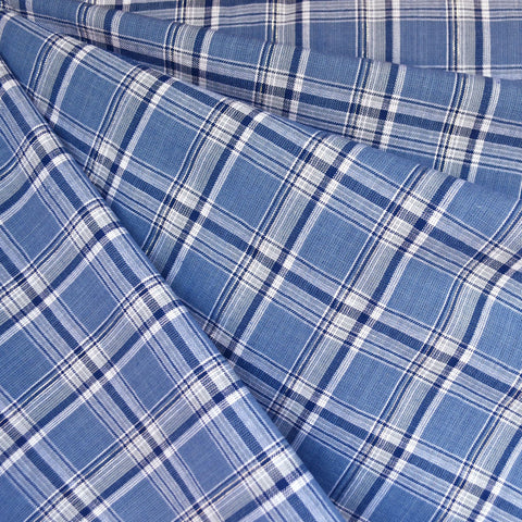 Yarn Dyed Plaid Shirting Blue/White/Silver SY
