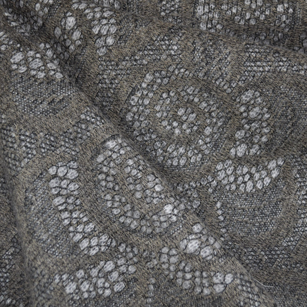 Floral Lace Overlay Sweater Knit Taupe/Grey - Sold Out - Style Maker Fabrics