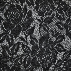 Vine Floral Lace Overlay Sweater Knit Black/Grey - Fabric - Style Maker Fabrics