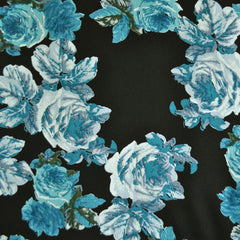 Vintage Rose Rayon Crepe Black/Teal - Fabric - Style Maker Fabrics