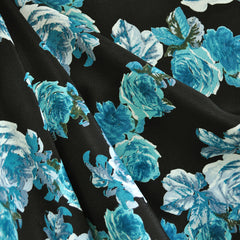 Vintage Rose Rayon Crepe Black/Teal SY - Sold Out - Style Maker Fabrics
