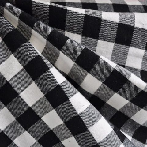 Check Plaid Flannel Shirting Black/White