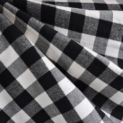 Check Plaid Flannel Shirting Black/White - Fabric - Style Maker Fabrics