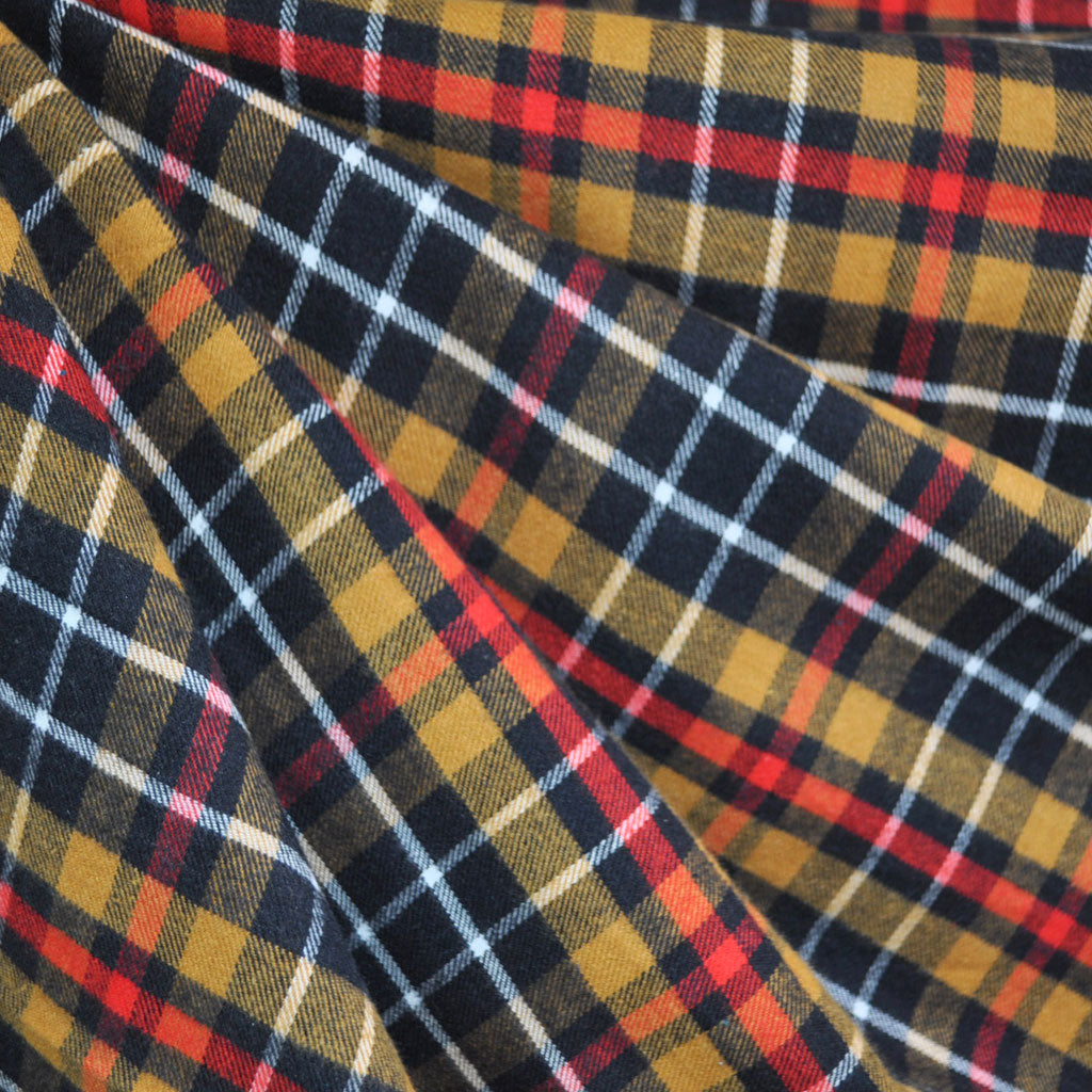 Plaid Flannel Shirting Red/Gold - Fabric - Style Maker Fabrics