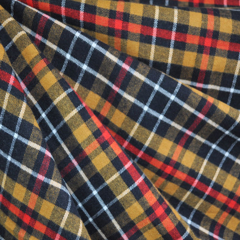 Plaid Flannel Shirting Red/Gold