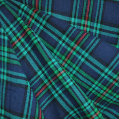 Plaid Flannel Shirting Navy/Turquoise - Sold Out - Style Maker Fabrics