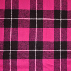 Plaid Flannel Shirting Fuchsia/Black - Sold Out - Style Maker Fabrics