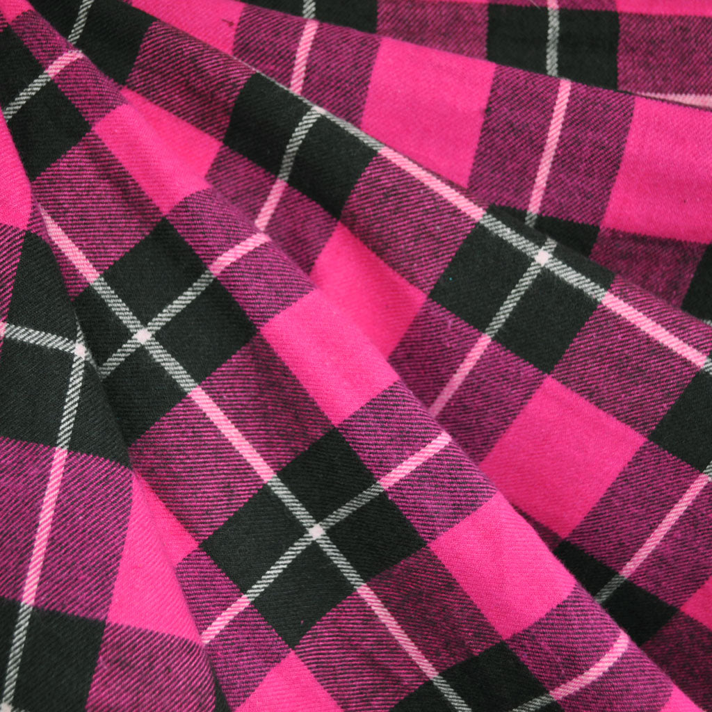 Plaid Flannel Shirting Fuchsia/Black SY - Sold Out - Style Maker Fabrics