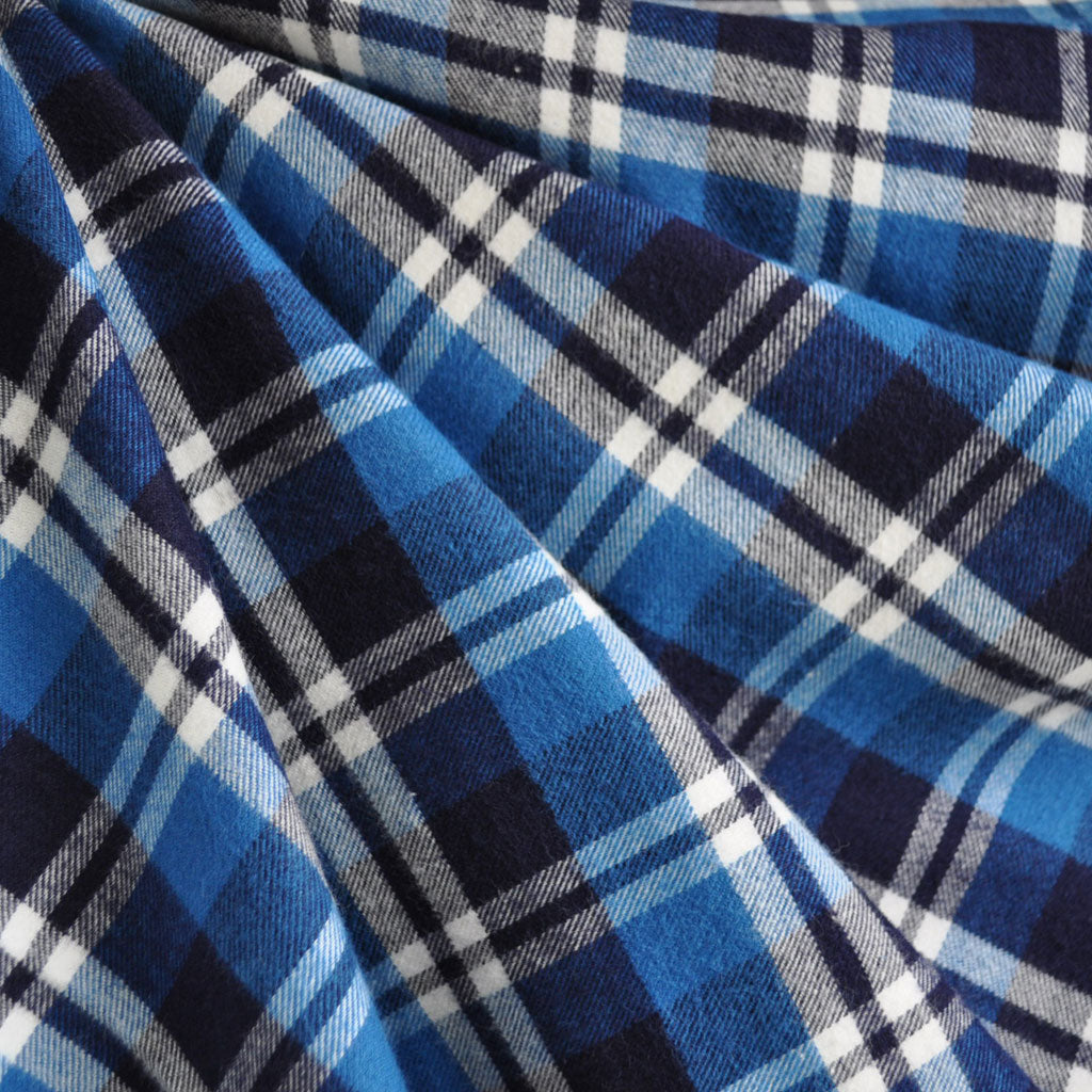 Plaid Flannel Shirting Navy/Royal SY - Sold Out - Style Maker Fabrics