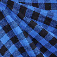 Check Plaid Flannel Shirting Black/Royal SY - Sold Out - Style Maker Fabrics